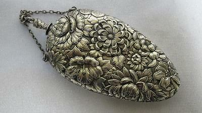 Chinese? Antique Solid Silver Scent Bottle Repousse Chrysanthemums C 1900