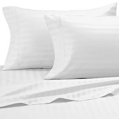 Classic Stripe 500 Thread Count Egyptian Cotton King Bed Size Flat Sheet White