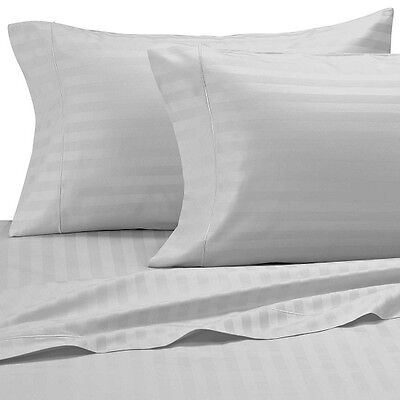 Classic Stripe 500 Thread Count Egyptian Cotton King Bed Size Flat Sheet Silver