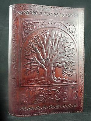 Wicca TREE of LIFE Handmade A5 Refillable Leather Journal, Choice of Paper