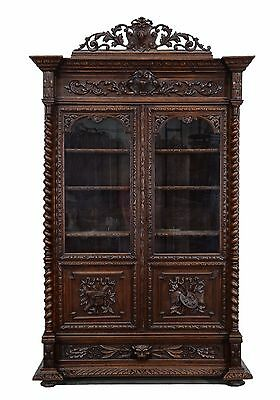 2201023 : Large Antique French Henry II Renaissance Hunt Carved 2 Door Bookcase