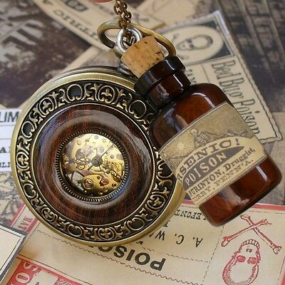 Steampunk pocket watch necklace pendant flask pirate apothecary Victorian bottle