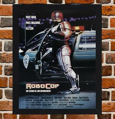 Framed RoboCop Movie Poster A4 / A3 Size Mounted In Black / White Frame