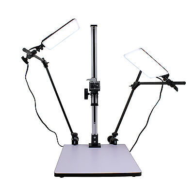 """Albinar High Load 28"""" Copy Macro Stand 15.75""""x19"""" Base w/ 2 two 16W LED lights"""