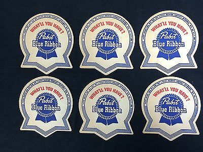 6 Pabst Blue Ribbon Beer Coasters PBR Vintage 1950's
