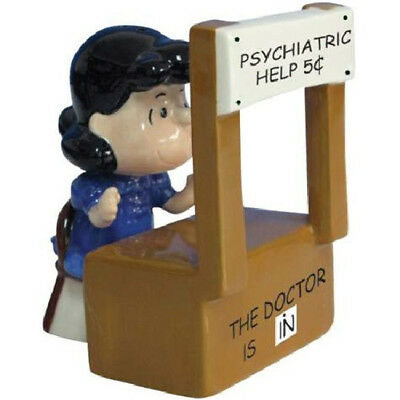 Peanuts Lucy Figure and Psychiatrist Booth Ceramic Salt and Pepper Set, NEW