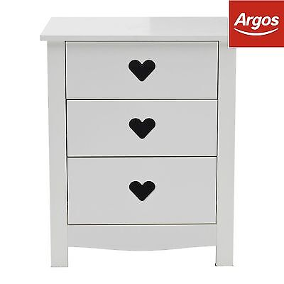 Mia 3 Drawer Bedside Chest - White. From the Official Argos Shop on ebay