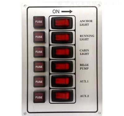 Marine 6 Gang Ip65 Fuse Switch Panel 12V Silver Boat Yacht Rv Motorhome