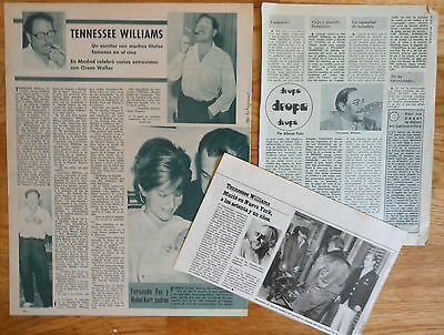 TENNESSEE WILLIAMS spanish clippings 1960s/80s magazine photos writer