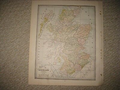 Superb Antique 1885 Scotland & England Wales Map Railroad Detailed Rare Nr