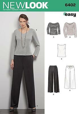 New Look Sewing Pattern Misses' Pants & Knitted Top Size Xs - Xl 6402