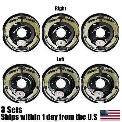 "(6) Electric Trailer Brakes Right & Left Backing Plate 12"" X 2"" 5200 to 7000lb"