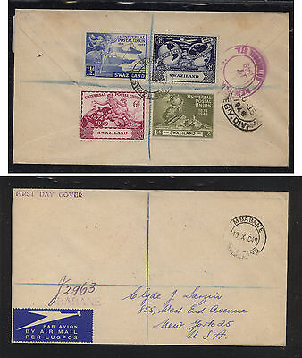 Swaziland  UPU  stamp on registered cover to stamp dealer 1949       WPX1118