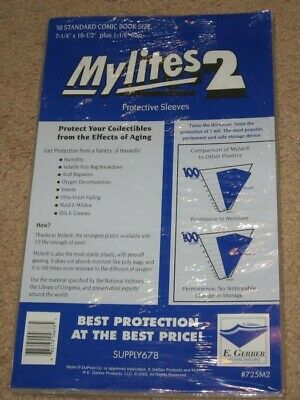 50 Mylites 2 Mylar Bronze / Silver STANDARD Comic Book Bags + Full Back Boards