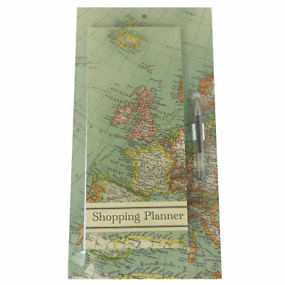 Vintage Map Shopping List Pad With Magnetic Back Retro Europe Memo Organiser