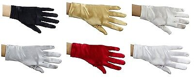 """Pair Of Short Deluxe Satin Gloves, Fashion Wedding, Prom, Evening,  Costume, 8"""""""