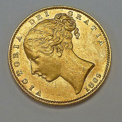 {BJStamps} 1869 Great Britain Gold Sovereign young Victoria Shield .2354 oz.AGW