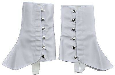 "Victorian Steampunk Western Costume White Vinyl 9"" High Boots Shoes Covers Spats"