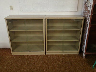 "VINTAGE Glass front doors Steelcase 3 Shelf Metal Bookcase 37""w x 15""d x 42""H"