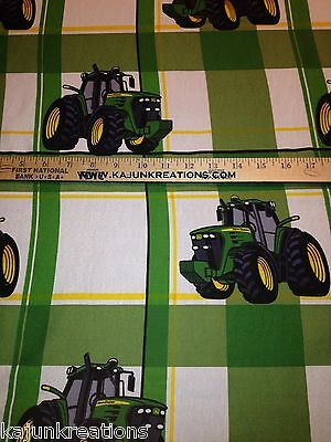 """JOHN DEERE green TRACTOR 60"""" licensed FABRIC to SEW your own CURTAIN VALANCE"""