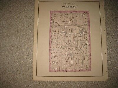 Antique 1876 Oakfield Cary Le Roy Genesee County New York Handcolored Map Superb