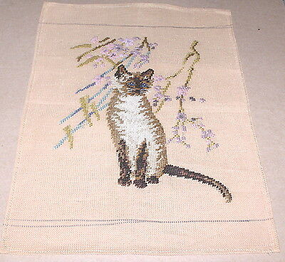 """Siamese Cat w/ Flowers"" Preworked Penelope Needlepoint Canvas"