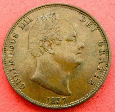 1837 - William 1V - Half Penny - AEF/EF - SN8855