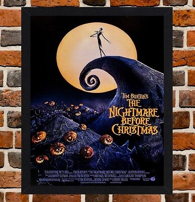 Framed The Nightmare Before Chrismas Movie Poster A4 / A3 Size In Black Frame