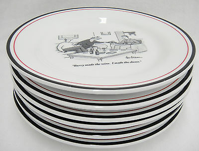 """Restoration Hardware Set of 6 8"""" Plates w Wine Humor From the New Yorker"""
