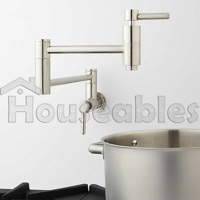 """21"""" Modern Retractable Double Joint Wall Mount Pot Filler Brushed Nickel"""