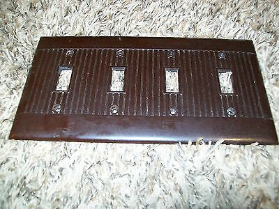 Vintage Ribbed Four Gang Switch Plate Sierra Line BROWN