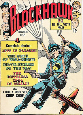 Blackhawk Comic Book #34, Quality Comics 1950 VERY GOOD+