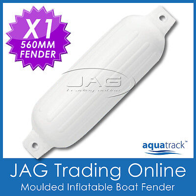 1 x 560mm INFLATABLE RIBBED WHITE BOAT FENDER/BUFFER MOORING GUARD with TWIN EYE