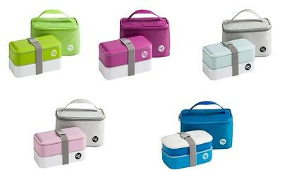Grub Tub Lunch Box 2 Containers With Cool Bag Cutlery For Home Office Travel