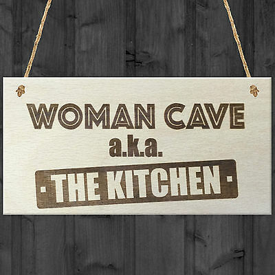 Woman Cave The Kitchen Novelty Wooden Hanging Plaque Sign Wife Girlfriend Gift