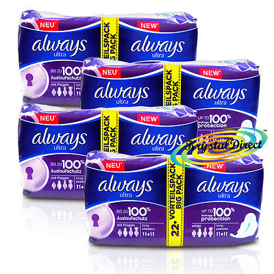 4x 22 Always Ultra Long With Wings Sanitary Pads
