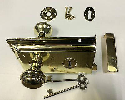 Polished BRASS Metal Rim Sashlock Lock & Knob Set Door Lever Knobs Spindle Shed