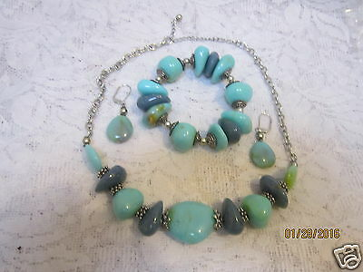 """Faux Turquoise Stone Mix 19""""  Necklace Stretch (7-9.5"""") Bracelet Wire Earrings"""