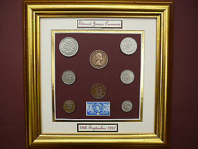 PERSONALISED FRAMED 1957 COIN SET 60th BIRTHDAY GIFT 2017