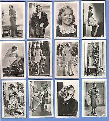 Collection of 21 0riginal vintage 1930's ROSS tobacco photo cards SONJA HENIE