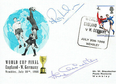 Ray WILSON Jack CHARLTON Signed Autograph FDC COA AFTAL ENGLAND World Cup 1966 E