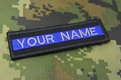 """CUSTOM NAME TEXT THIN BLUE LINE RED LINE POLICE PATCH 5 X 1/""""  P126"""