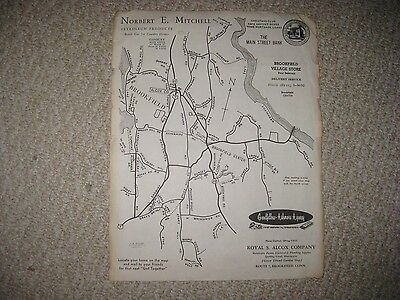 Antique 1940S Brookfield & Center Connecticut Map Rare Detailed Nr