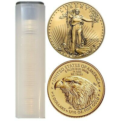 Lot of 50 - 2019 1/10 oz Gold American Eagle $5 Coin BU In US Mint Tube