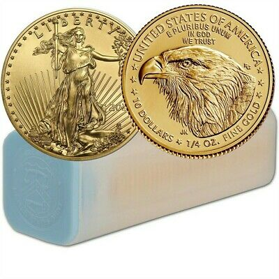 Lot of 40 - 2019 1/4 oz Gold American Eagle $10 Coin BU In US Mint Tube