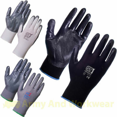 24 x Pairs Work Gloves Nitrile PU Coated Safety Builders Mechanics Construction