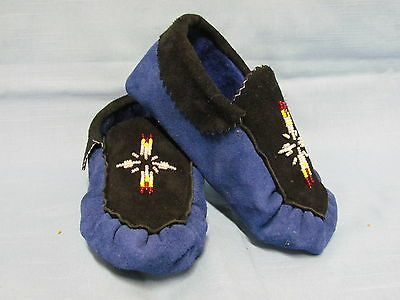 Native American Children's Beaded Hide Moccasins 7 Inch Silvery Starburst Design