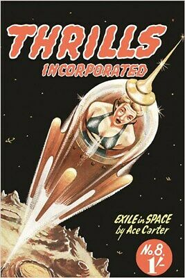 THRILLIS incorporated VINTAGE COMIC BOOK COVER poster OUTER SPACE 24X36 new