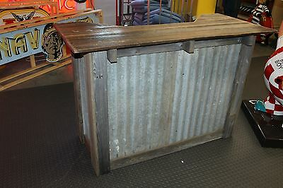 Rustic Dry Bar Stand W/ Corrugated Metal and Wood