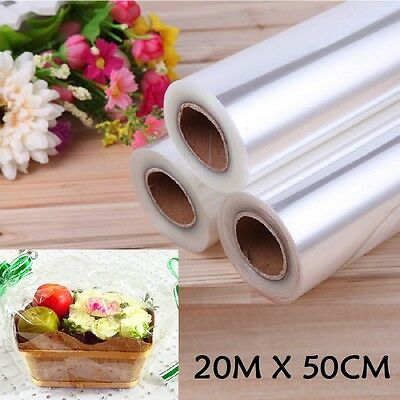 20M X50Cm Wide Plain Clear Florist Craft Cellophane Roll Film Gift Wrap Hamper